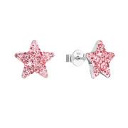 Náušnice pecky s krystaly Preciosa 31312.3 růžová