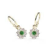 Zlaté dětské náušnice Cutie Jewellery C2749Z-Green