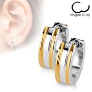 Náušnice kroužky se zlatými proužky 017-RD