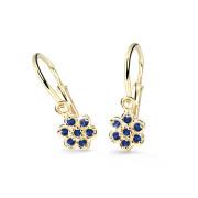 Zlaté dětské náušnice Cutie Jewellery C2746Z-Blue Dark