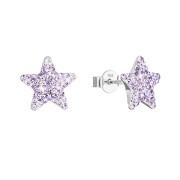 Náušnice pecky s krystaly Preciosa 31312.3-fialová