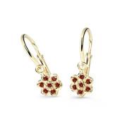 Dětské zlaté náušnice kytičky Cutie Jewellery C2746Z Červená