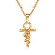 Ocelový přívěsek nilský kříž JCFGX1420-Zlatý had