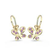 Dětské náušnice zlaté Cutie Jewellery C2748Z-Fialová