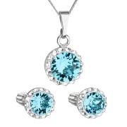 Sada stříbrných šperků s kamínky Swarovski 39352.3 Modrá