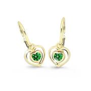 Dětské náušnice srdíčka Cutie Jewellery C2752Z-Green