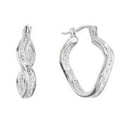 Stříbrné visací náušnice s krystaly Preciosa 31219.1 bílá