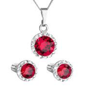 Sada stříbrných šperků s kamínky Swarovski 39352.3 Červená
