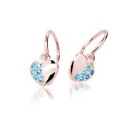 Zlaté dětské náušnice srdíčka Cutie Jewellery C2160R Arctic Blue