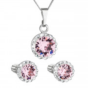 Sada stříbrných šperků s kamínky Swarovski 39352.3 Růžová