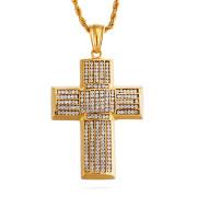 Ocelový náhrdelník kříž se zirkony WJHC256