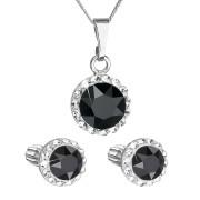 Sada stříbrných šperků s kamínky Swarovski 39352.3 Černá