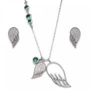 Náhrdelník a náušnice stříbro se zirkony 19001.3 Emerald