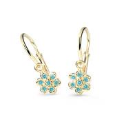 Zlaté dětské náušnice Cutie Jewellery C2746Z-Mint Green