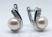 Dámské stříbrné visací náušnice s perlou 307301