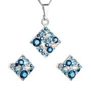Modrá souprava šperků Swarovski elements 39126.3 aqua