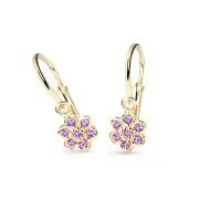 Zlaté dětské náušnice Cutie Jewellery C2746Z-Ametyst