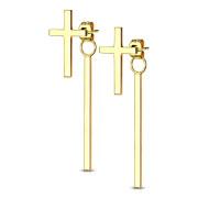 Visací ocelové náušnice 3623-Gold