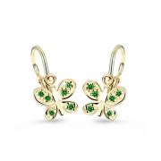 Dětské náušnice zlatý motýl C2748Z-Zelená