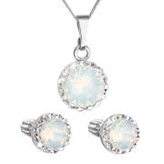 Sada stříbrných šperků s kamínky Swarovski 39352.7 Bílý opál