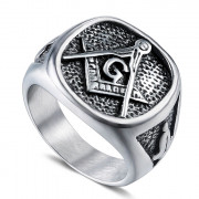Prsten z chirurgické oceli WJHZ112- Svobodní zednáři