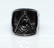 Ocelový prsten pro muže SEWJHZ43-Svobodní zednáři