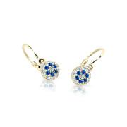 Náušnice pro miminka zlaté Cutie Jewellery C2150Z-Blue dark