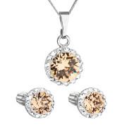 Sada stříbrných šperků s kamínky Swarovski 39352.3 Oranžová