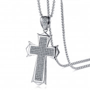 Ocelový přívěšek křížek na krk JCFPN980