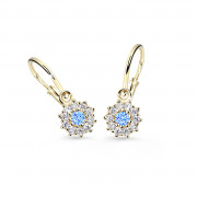 Zlaté dětské náušnice Cutie Jewellery C2749Z-Arctic Blue