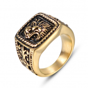 Pečetní prsten z chirurgické oceli zlatý WJHB578