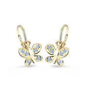 Dětské náušnice zlaté Cutie Jewellery C2748Z-Světle modrá