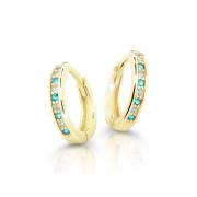 Zlaté náušnice kroužky Cutie Jewellery C3342Z-Mint Green