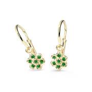 Zlaté dětské náušnice Cutie Jewellery C2746Z-Green