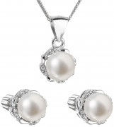 Souprava stříbrných šperků s perlami a zirkony 29009.1