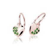 Zlaté dětské náušnice srdíčka Cutie Jewellery C2160R Green