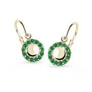 Dětské náušnice zlaté Cutie Jewellery C2750Z Zelená
