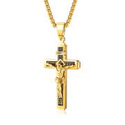 Ocelový náhrdelník kříž SEGX1626GD