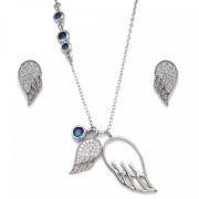 Sada šperků se zirkony náušnice a přívěsek bílá křídla a modré krystaly 19001.3 sapphire