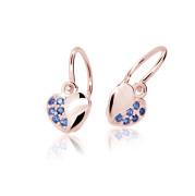 Zlaté dětské náušnice srdíčka Cutie Jewellery C2160R-Dark Blue