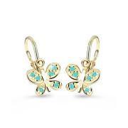Dětské náušnice zlatý motýl C2748Z-Zeleno modrá