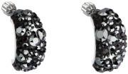 Stříbrné náušnice s kameny Swarovski 31164.5 Black