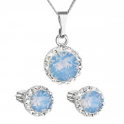 Sada stříbrných šperků s kamínky Swarovski 39352.7 Modrý opál