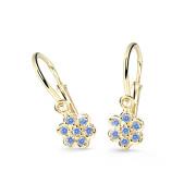 Zlaté dětské náušnice Cutie Jewellery C2746Z-Arctic Blue