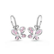 Dětské náušnice z bílého zlata C2748B-Růžový motýlek