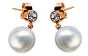 Ocelové náušnice visací s perlou SEE228