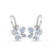 Zlaté dětské naušnice Cutie Jewellery C2748B Modrý motýl