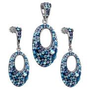 Stříbrná souprava šperků Swarovski elements 39075.3 blue style