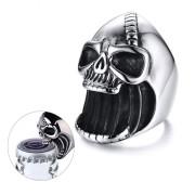 Ocelový prsten pro motorkáře lebka SERC413