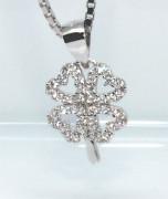 Přívěsek na řetízek stříbrný čtyřlístek se zirkony 306526